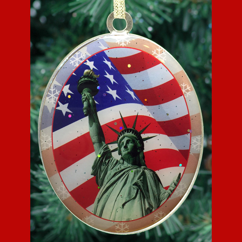 Statue of Liberty Flag New York Christmas Ornament