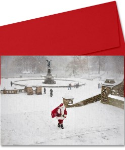 BMC3210 Santa at Bethesda Fountain in Central Park Boxed Cards from NY Christmas Gifts Store