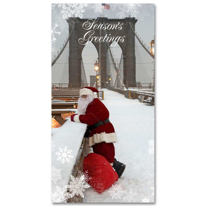 Santa Watching Traffic on Brooklyn Bridge – Holidays Money Greeting Cards Holders Set of 6
