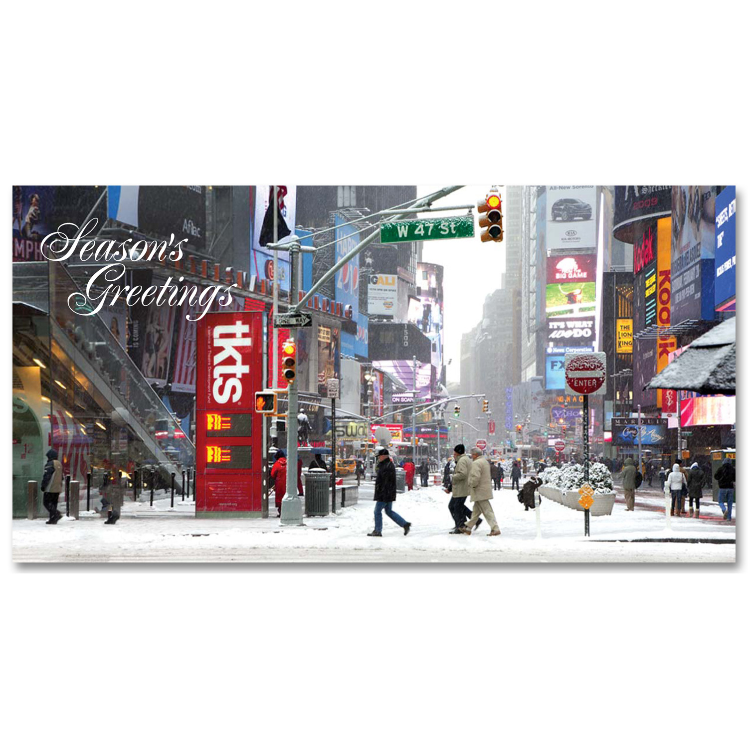 Snow On Times Square At Ticket Booth Holidays Money Greeting Cards