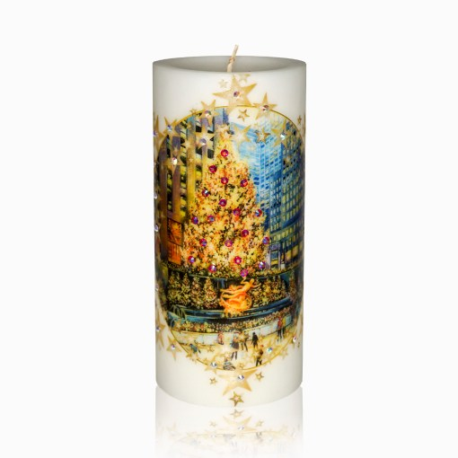 Rockefeller Center Skating Rink Luxury Christmas Pillar Candle w Rhinestones from NY Christmas Gifts