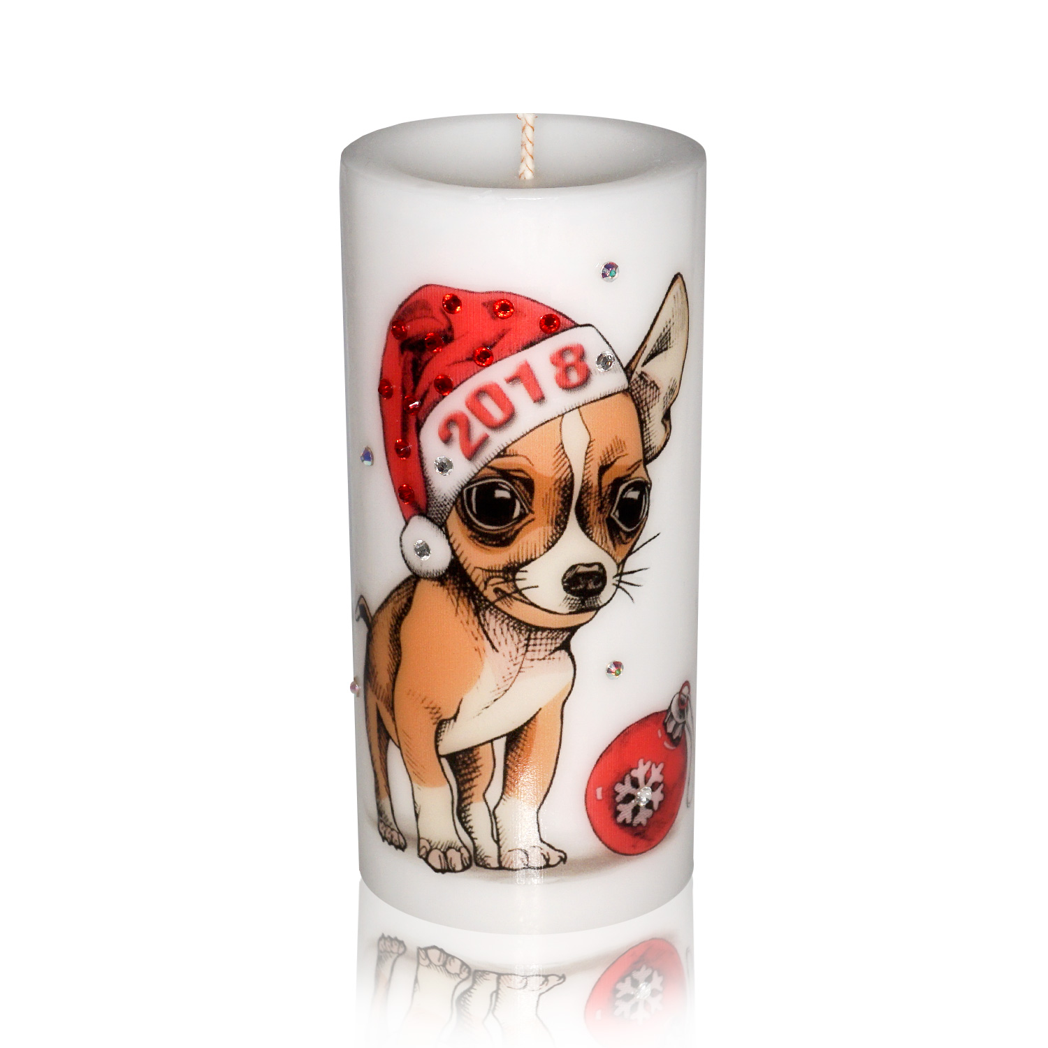 Luxury New Year of the Dog Pillar Candle – Chihuahua Gift Candle Hand-printed with Rhinestones