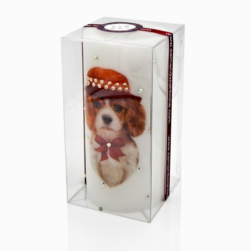 Cavalier King Charles Spaniel Hat Gift Candle Luxury Hand-printed with Rhinestones NY Christmas Gifts