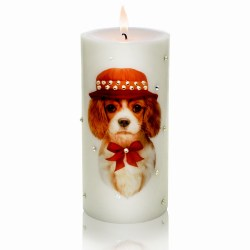 New Year 2018 Gift Candle Cavalier King Charles Spaniel Luxury Dog Candle with Rhinestones from NY Christmas Gifts Store