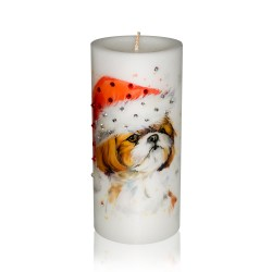 Luxury New Year of the Dog Pillar Candle – Shih Tzu in a Hat Gift Candle Hand-printed with Rhinestones