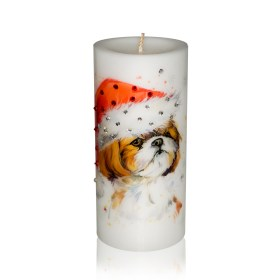 New Year 2018 Gift Candle Shih Tzuin a Hat Luxury Dog Candle with Rhinestones from NY Christmas Gifts Store