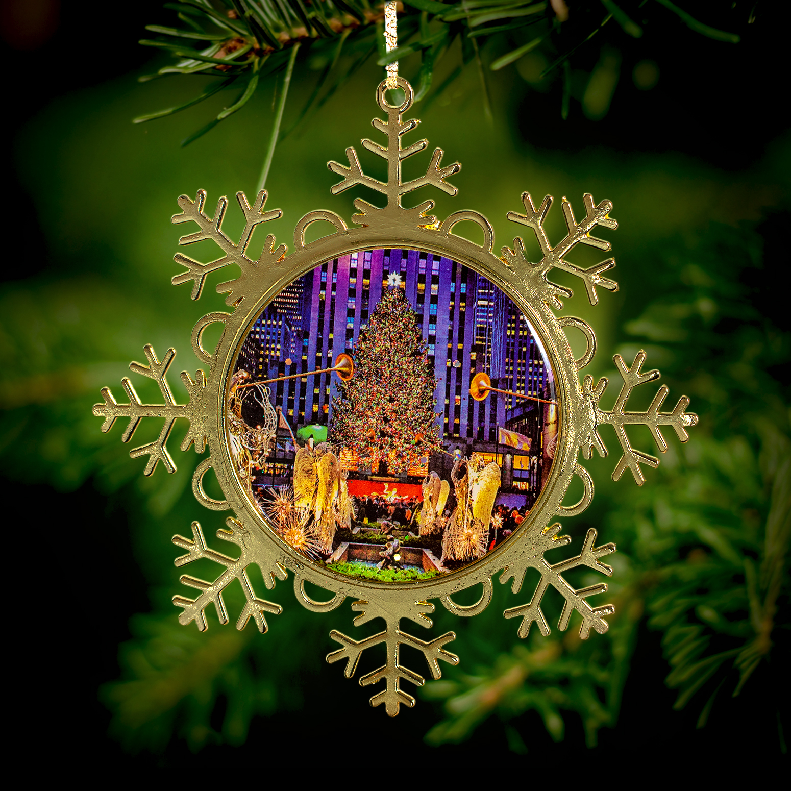 Rockefeller Center Christmas Tree Snowflake Metal Ornament ...