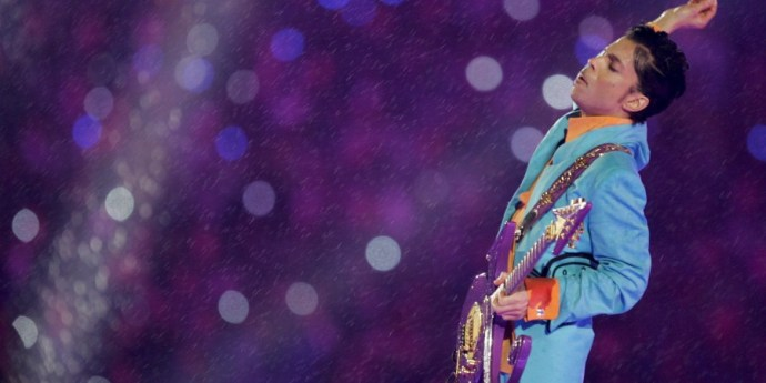 Prince performs during the halftime show at the Super Bowl XLI football game at Dolphin Stadium in Miami on Sunday, Feb. 4, 2007. (AP Photo/Kevork Djansezian)
