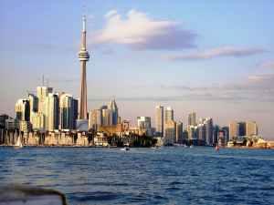 Toronto, Ontario, Canada from a lake
