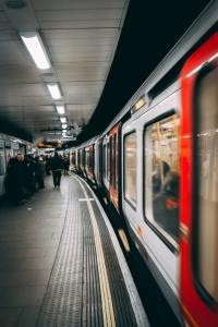 A subway station, the train leaving
