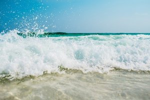 Waves at a beach.