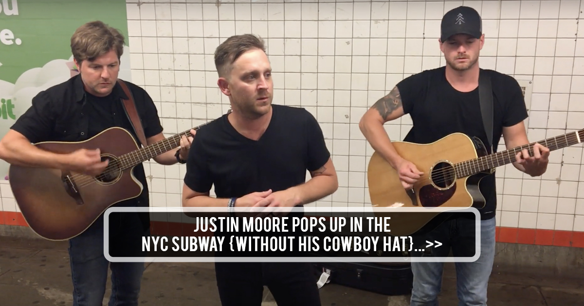 bbb57f78e Justin Moore Pops Up In the NYC Subway {Without His Cowboy Hat}