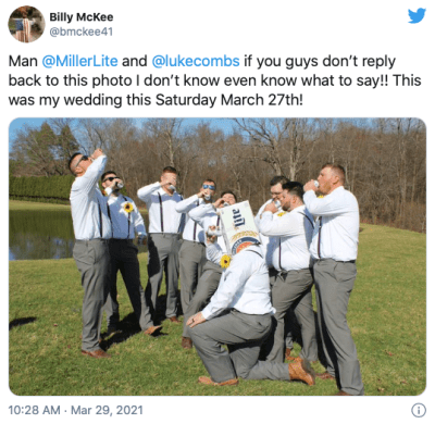 Luke Combs new, unreleased track was inspired by Combs fan, Billy McKee's Wedding Tweet