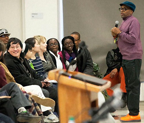 """At the Brooklyn College Student Center, movie director Spike Lee takes questions from students after his keynote address at the """"Race and Performance"""" conference organized by the Africana Studies Department."""