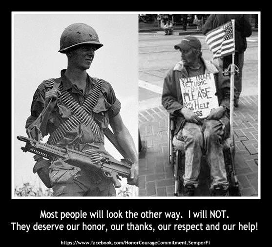 Homeless vet then and now pic