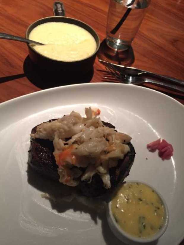 STK bone in steak and crab