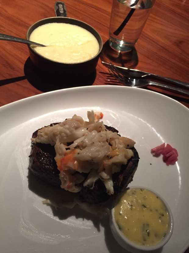 STK bone in steak and crab