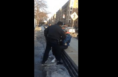 cops dogpile man