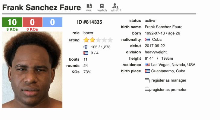 Frank Sanchez Faure is a Cuban born heavyweight boxing prospect.