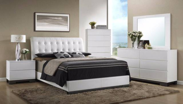 Crown Mark Furniture Avery Modern White Queen Size ...