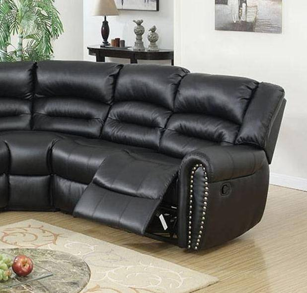 black bonded leather motion sectional sofa f6743 poundex modern