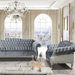 American Eagle Furniture Ae2603 Lb Light Blue Tufted Sofa And Loveseat Set Fabric Classic 2pcs Ae2603 Lb Set 2