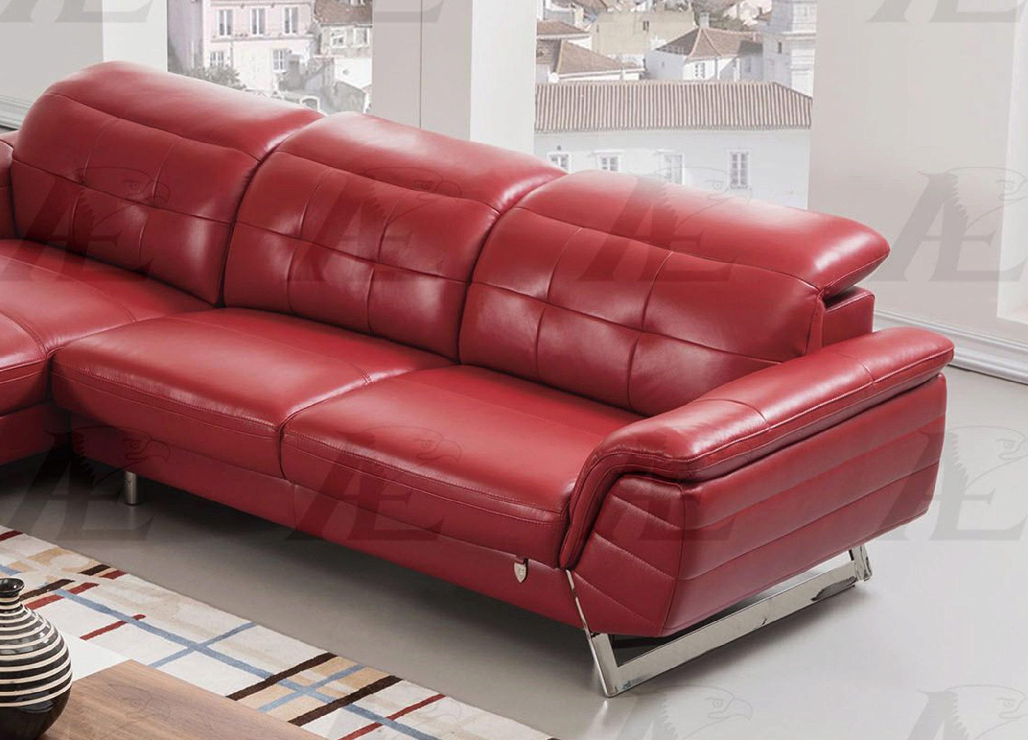 sectional sofa chaise lhc italian leather 2pcs american eagle ek l085 red