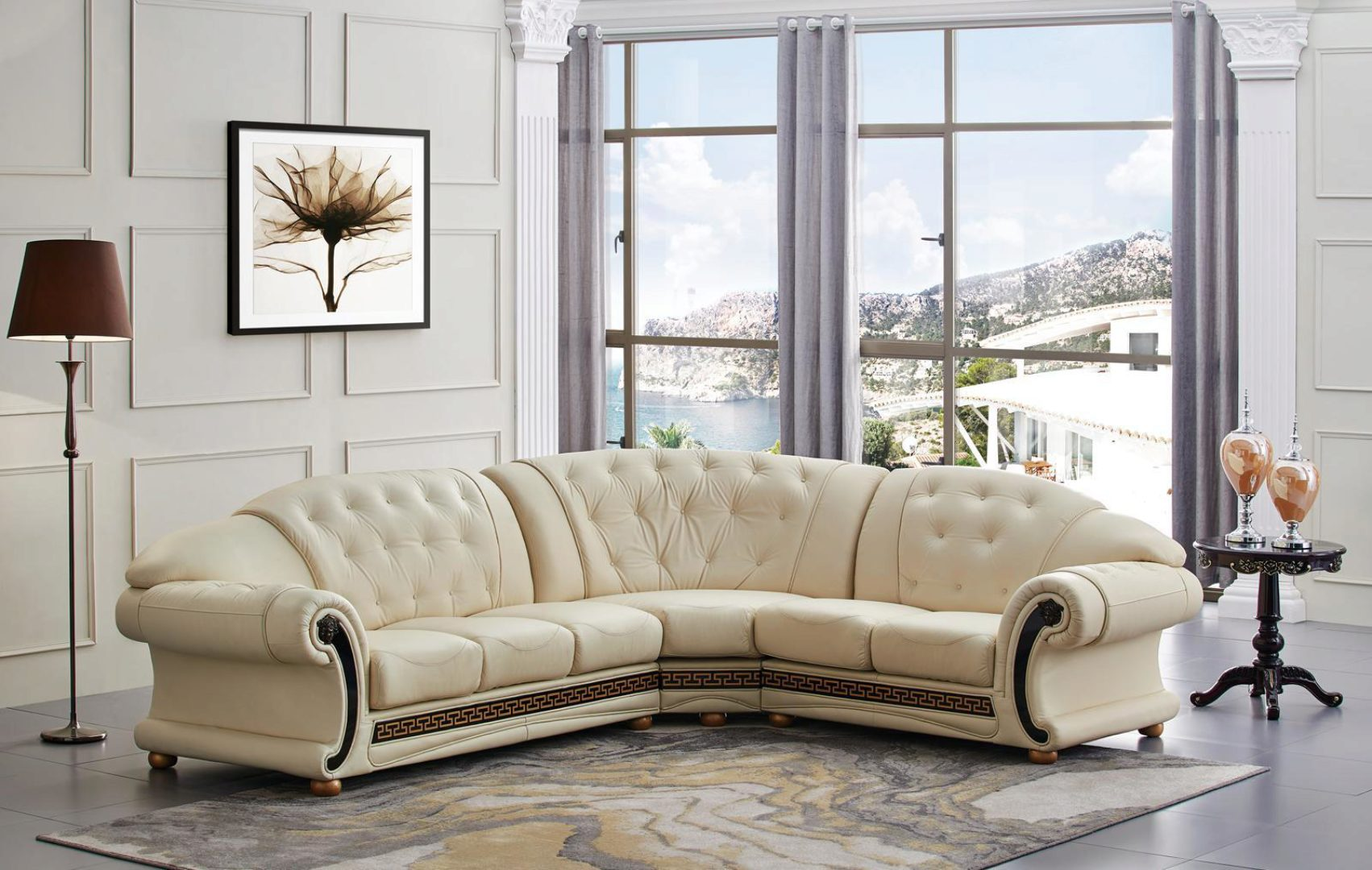 ivory genuine leather tufted sectional sofa anais 82 3 right hand facing classic