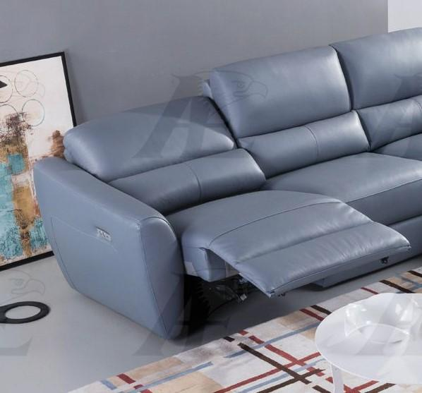 blue gray top grain italian leather sectional rhc american eagle ek l8001 bgy