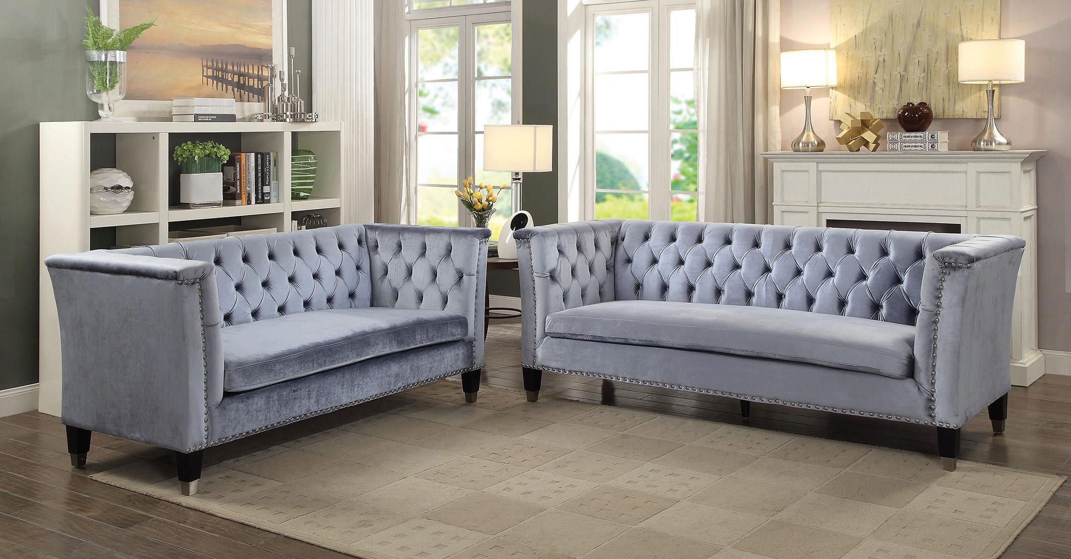 Blue Grey Velvet Tufted Sofa Set 2 Pcs Vintage Traditional Acme 52785 Honor Honor 52785 Set 2