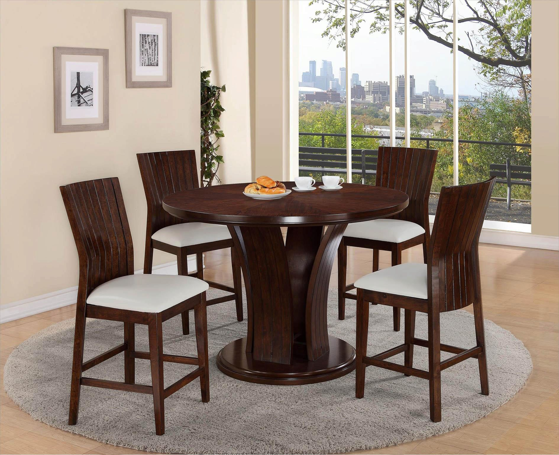 Crown Mark D2734wh Daria Round Pub Height Dining Table And Stool Set 5pcs D2734wh Set 5