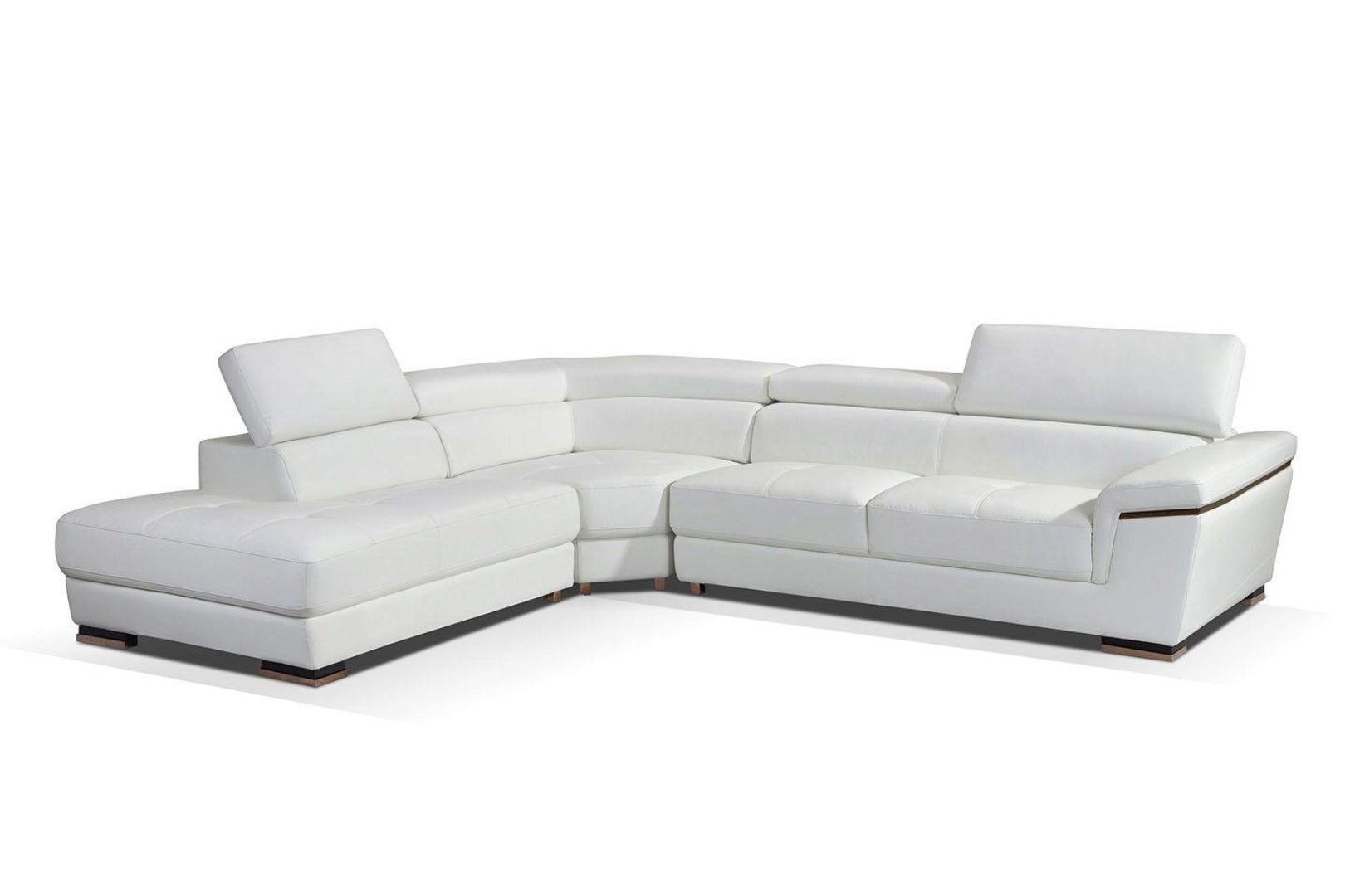 white genuine leather sectional sofa left hand facing contemporary esf 2383