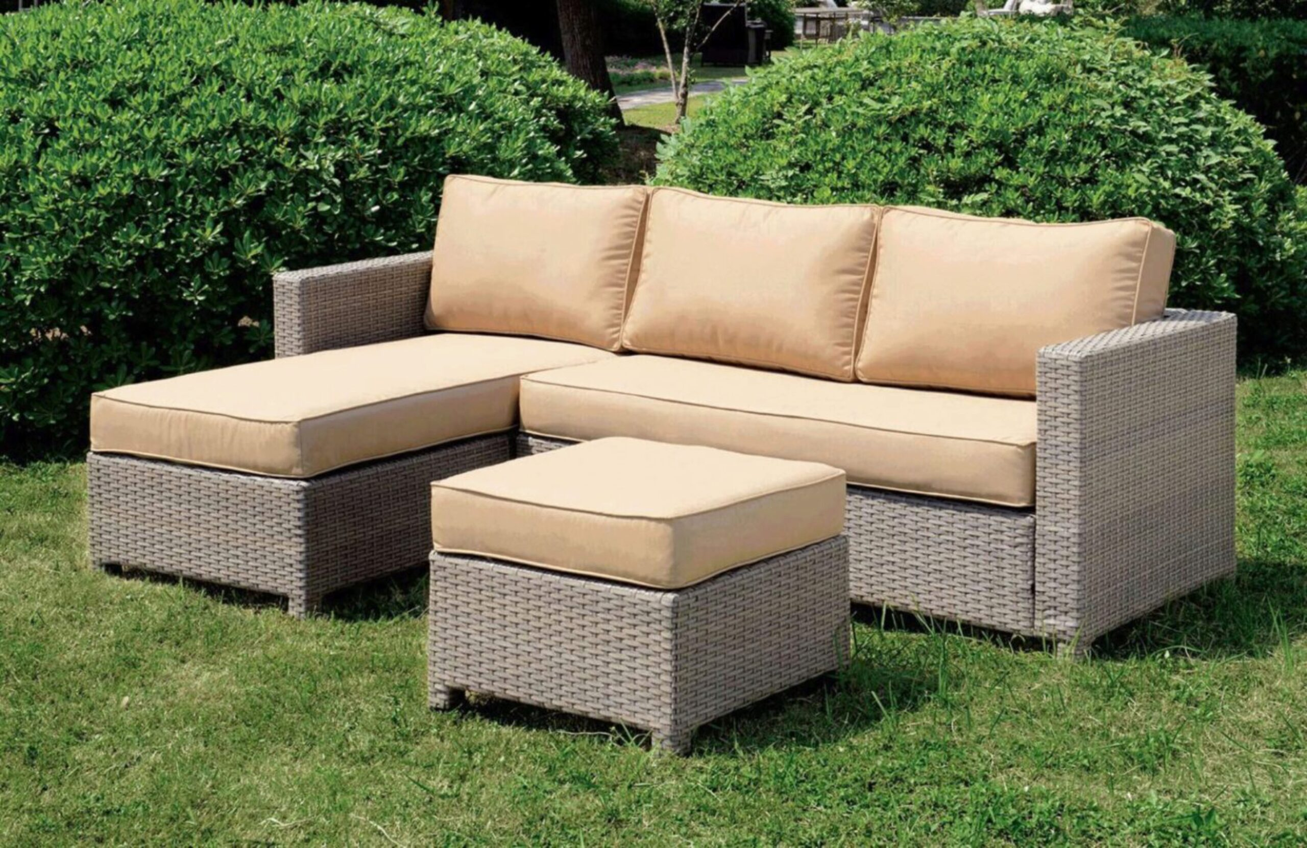 furniture of america sabina dark grey wicker patio l sectional w ottoman 2pcs set