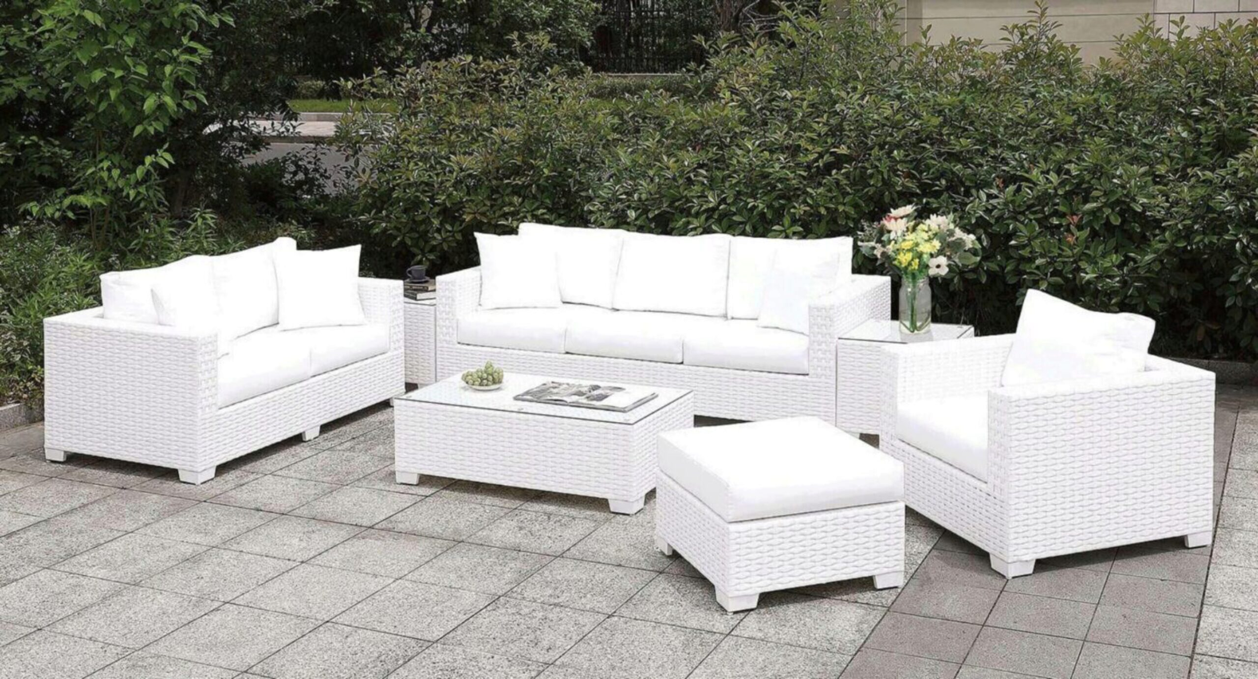 furniture of america somani ii white wicker patio sectional sofa 7 pcs set