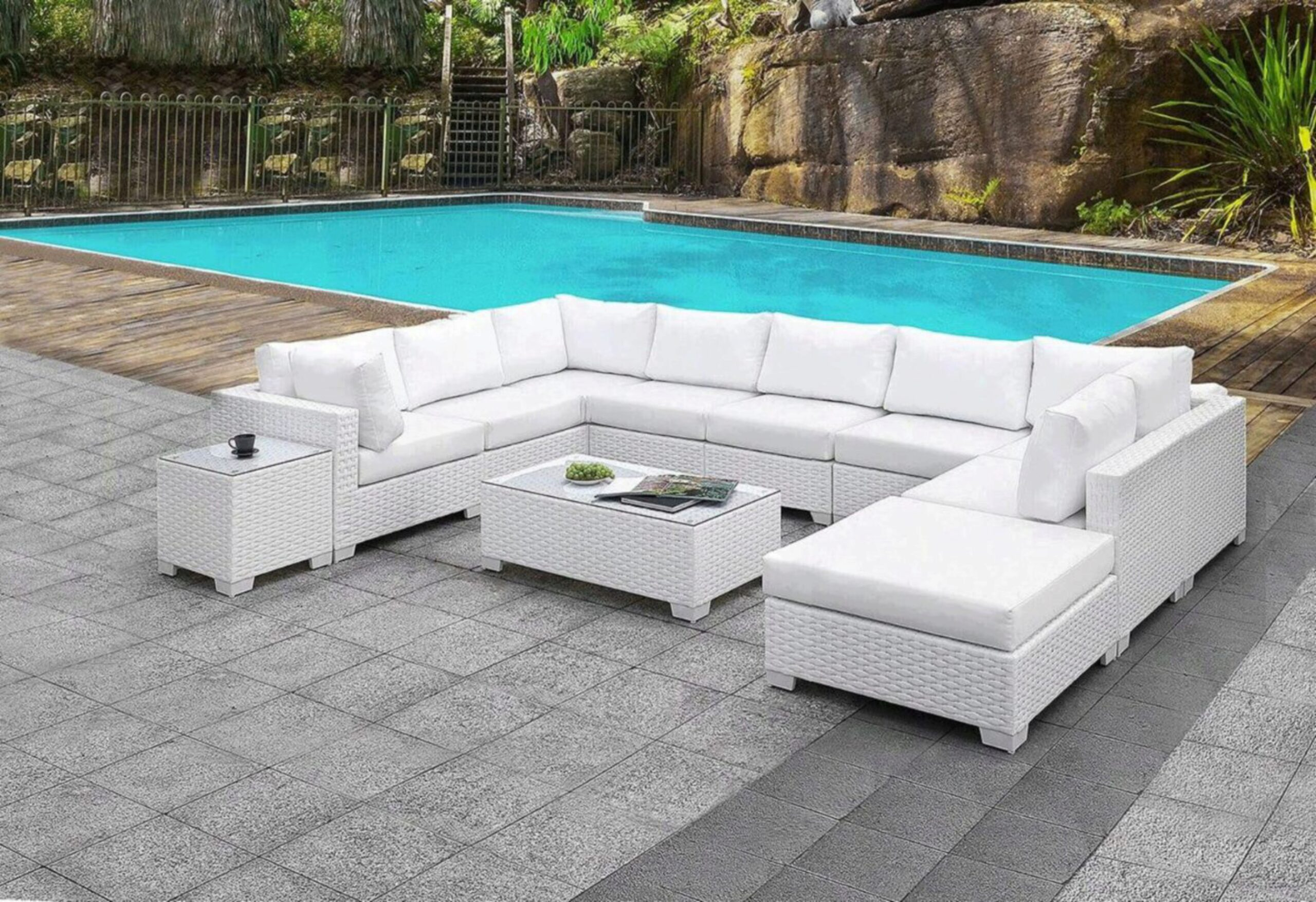 furniture of america somani ii white wicker patio u sectional and coffee table set