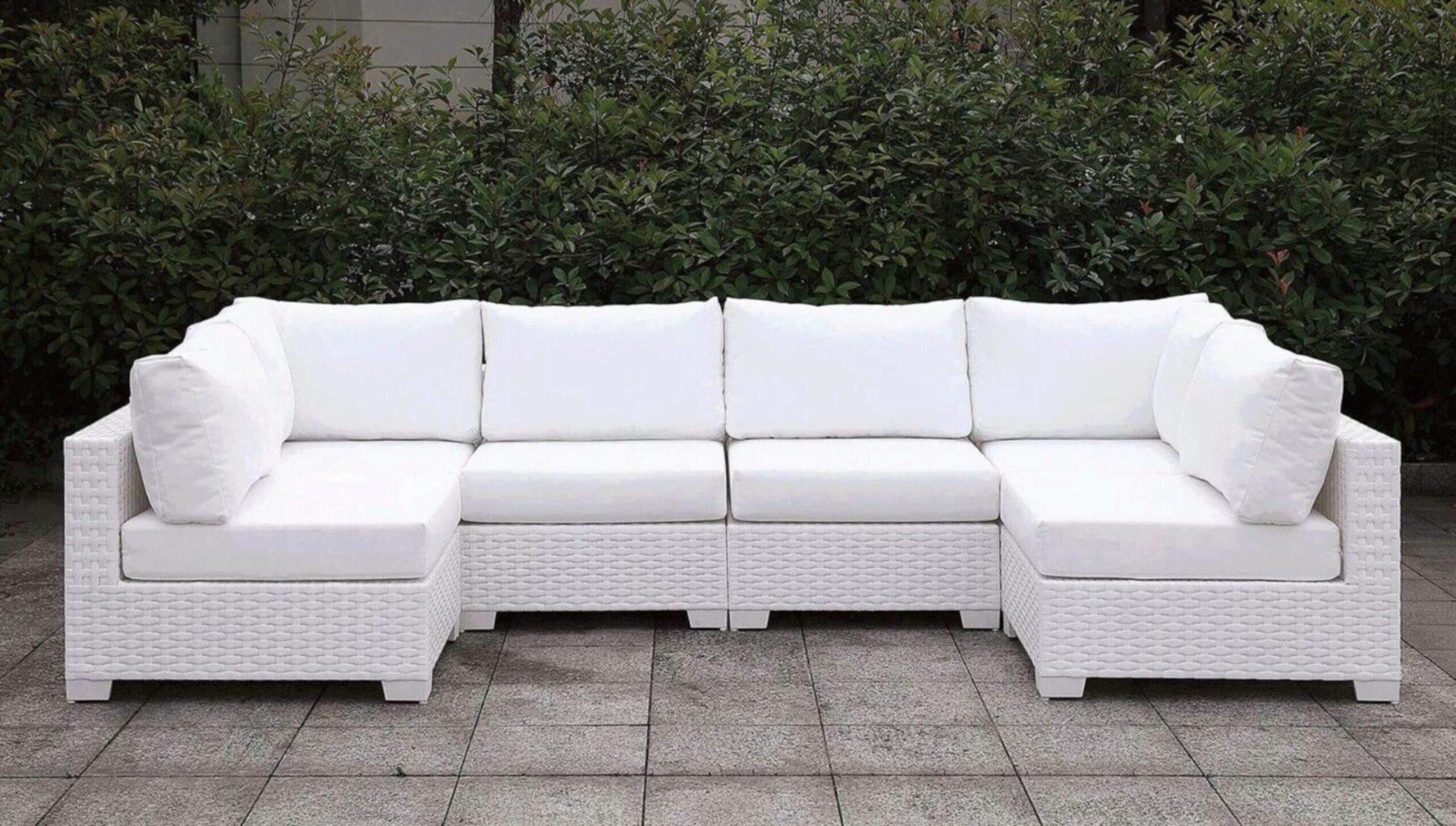 furniture of america somani ii white wicker patio u shape sectional