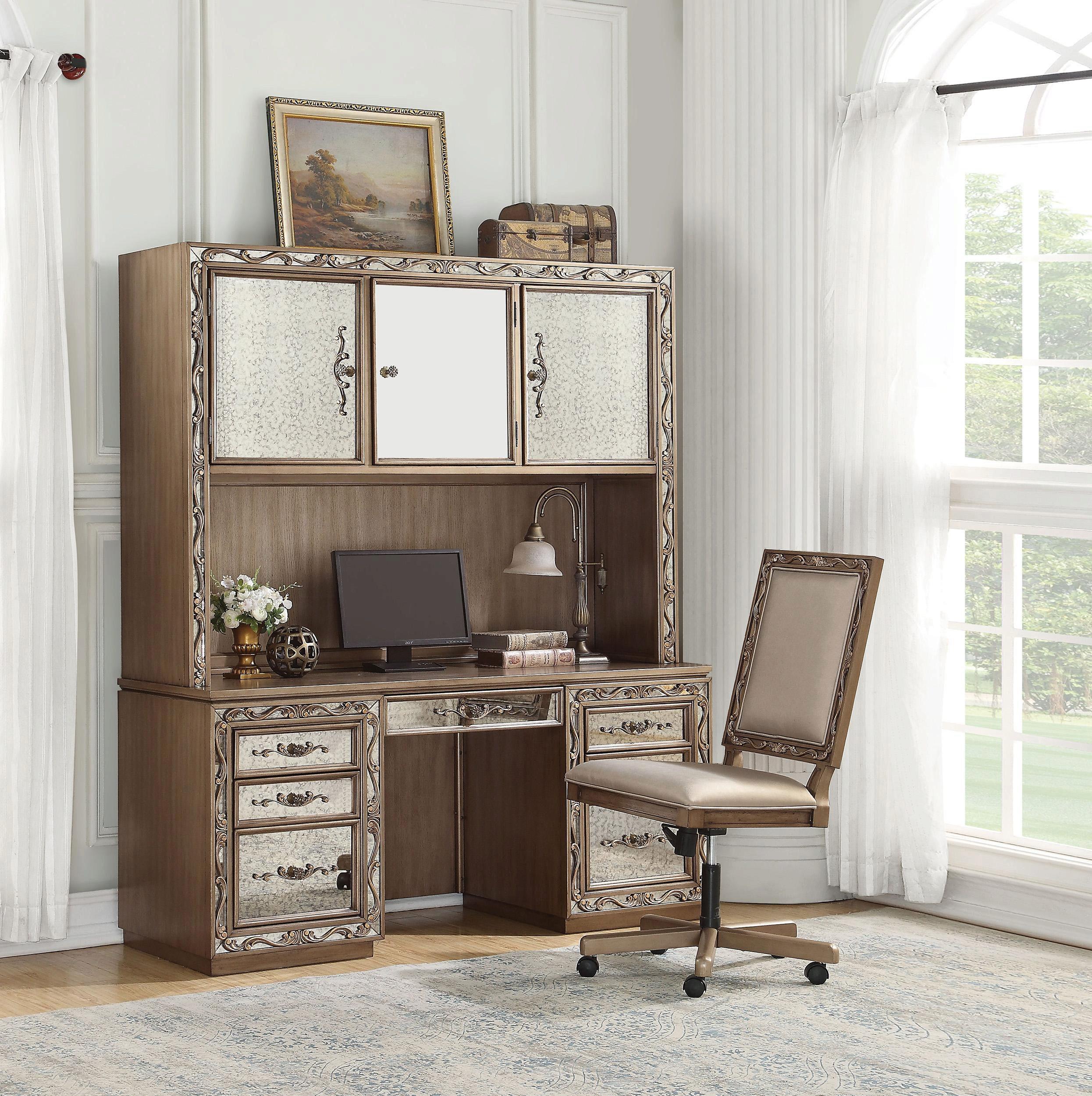 Home Office Computer Desk Hutch Set 2 Antique Champagne 93790 Orianne Acme Orianne 93790 91437