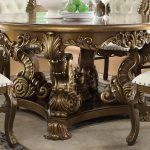 Antique Gold Round Dining Table Set 7pcs Traditional Homey Design Hd 8008 Hd 8008 Dt Set 7