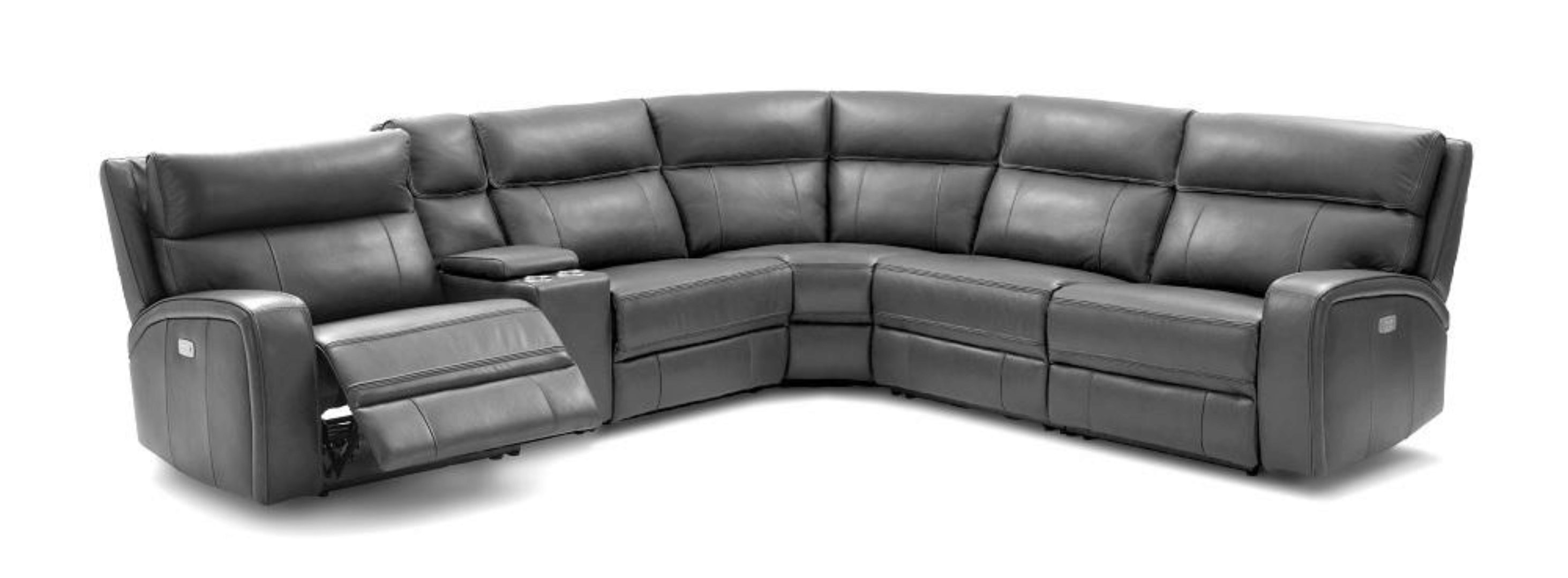 j m cozy modern dark grey premium italian leather 6 pcs motion sectional