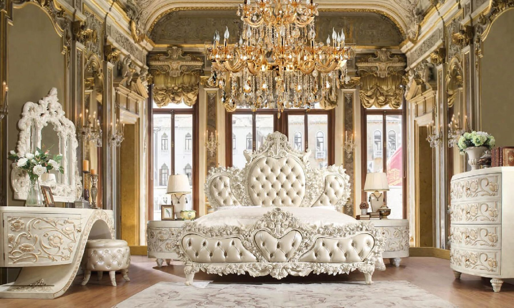 luxury cal king bedroom set 5 pcs white traditional homey design hd 8030