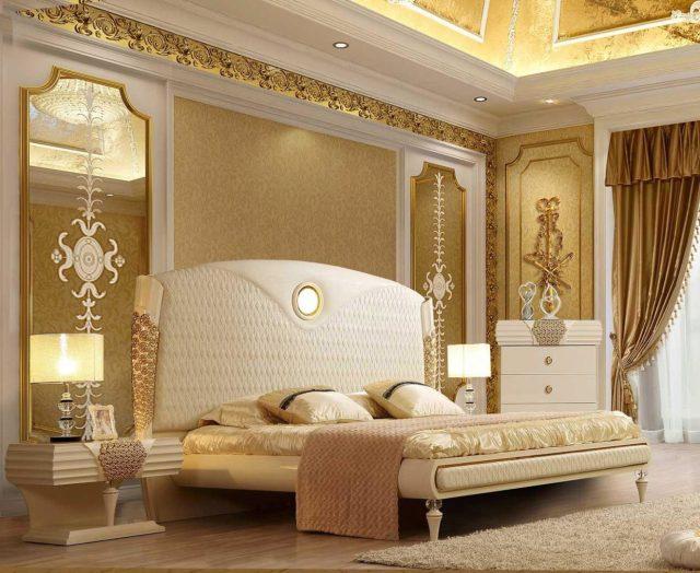 Luxury King Bedroom Set 3 Pcs Cream Leather Contemporary ...