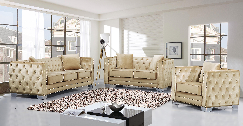 Beige Velvet Tufted Sofa Loveseat Chair Set 3 Pcs Meridian Furniture 648 Reese 648be Set 3