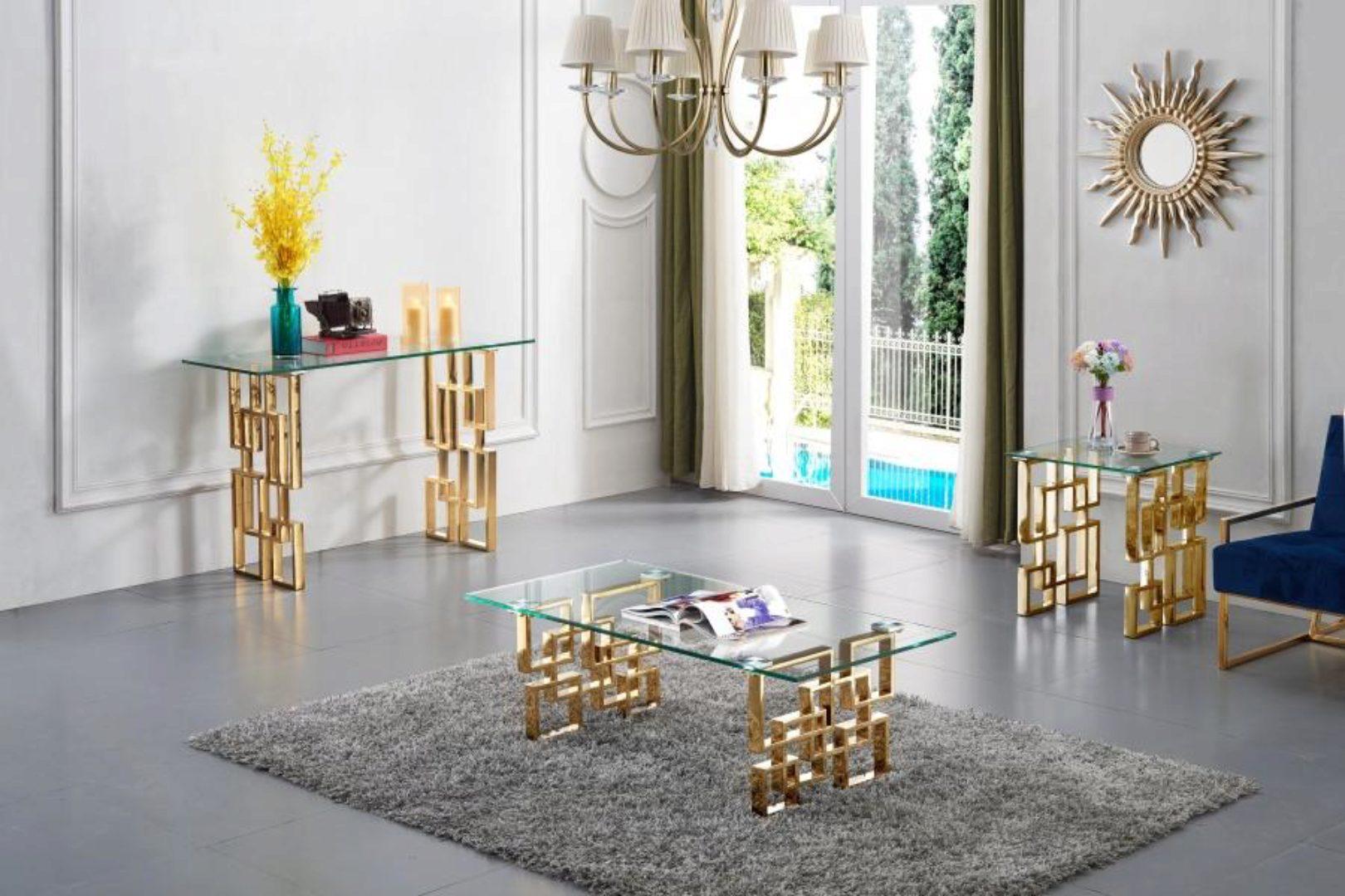 meridian furniture 214 pierre glass top rich gold steel coffee table set 3pcs modern