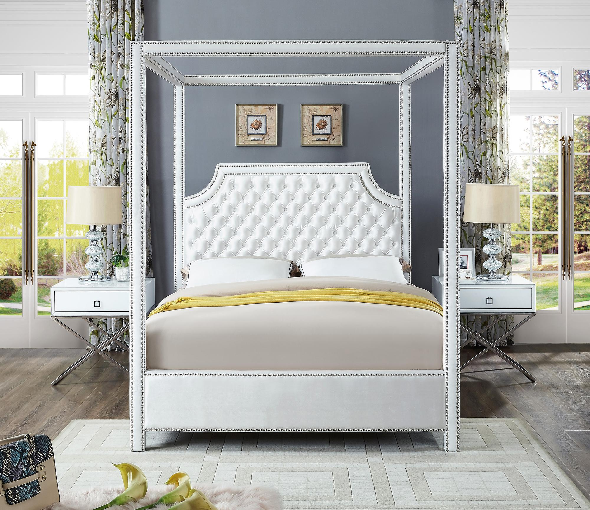 White Velvet Queen Canopy Bed W Side Tables Set 3ps Meridian Furniture Rowan Rowanwhite Q Set 3