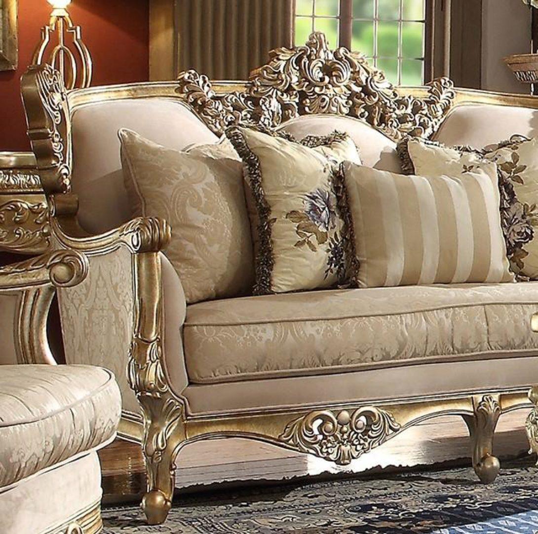 metallic bright gold finish sofa set 2pcs traditional homey design hd 04