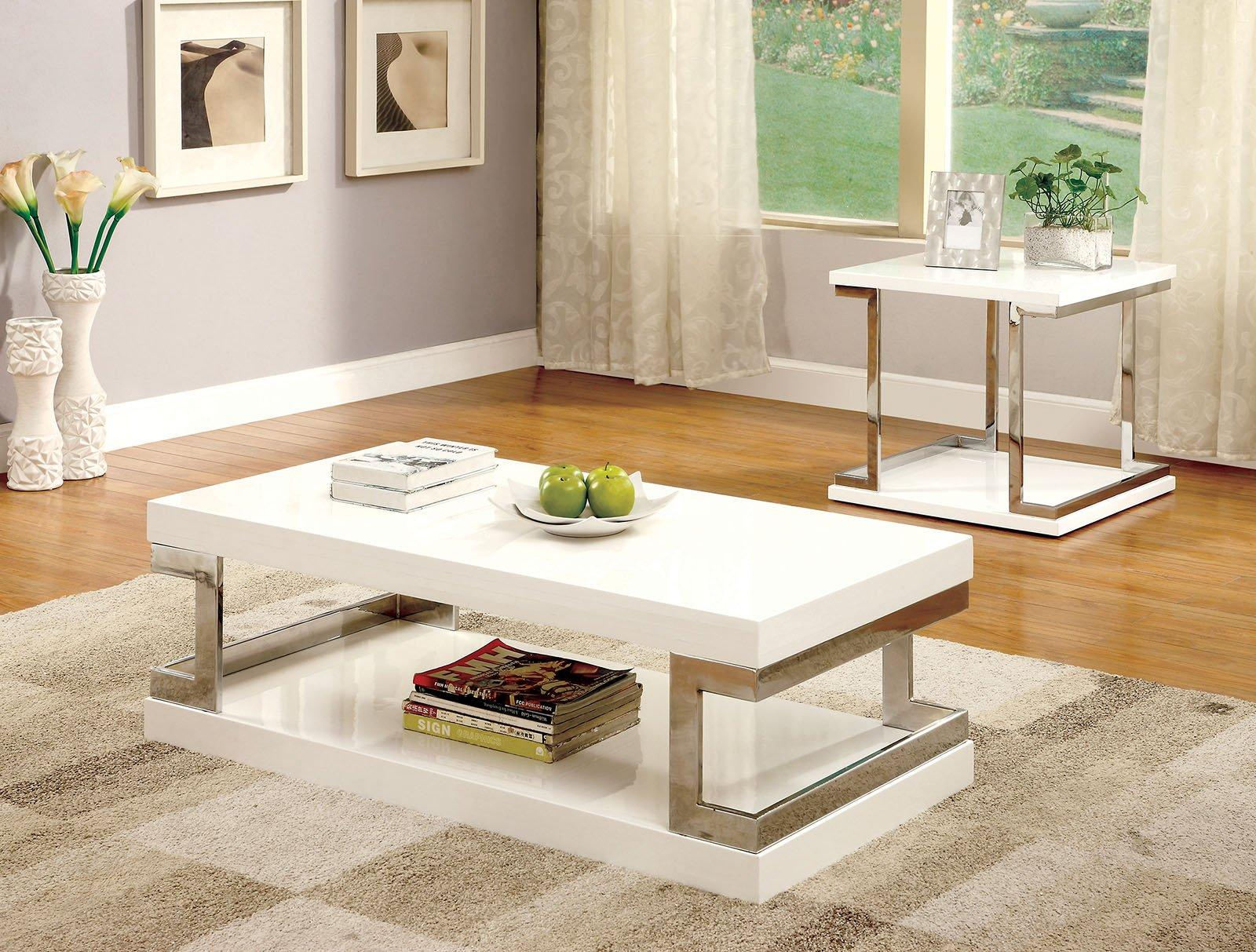 modern white high gloss lacquer coffee table set 2pcs meda by furniture of america