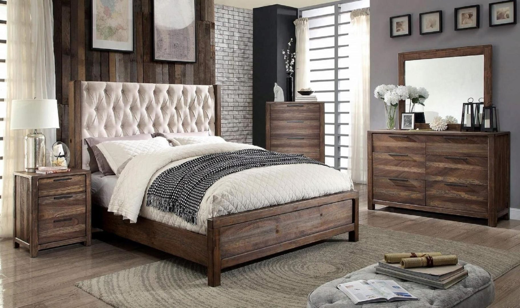 rustic cal king bedroom set 5 w chest brown hutchinson furniture of america