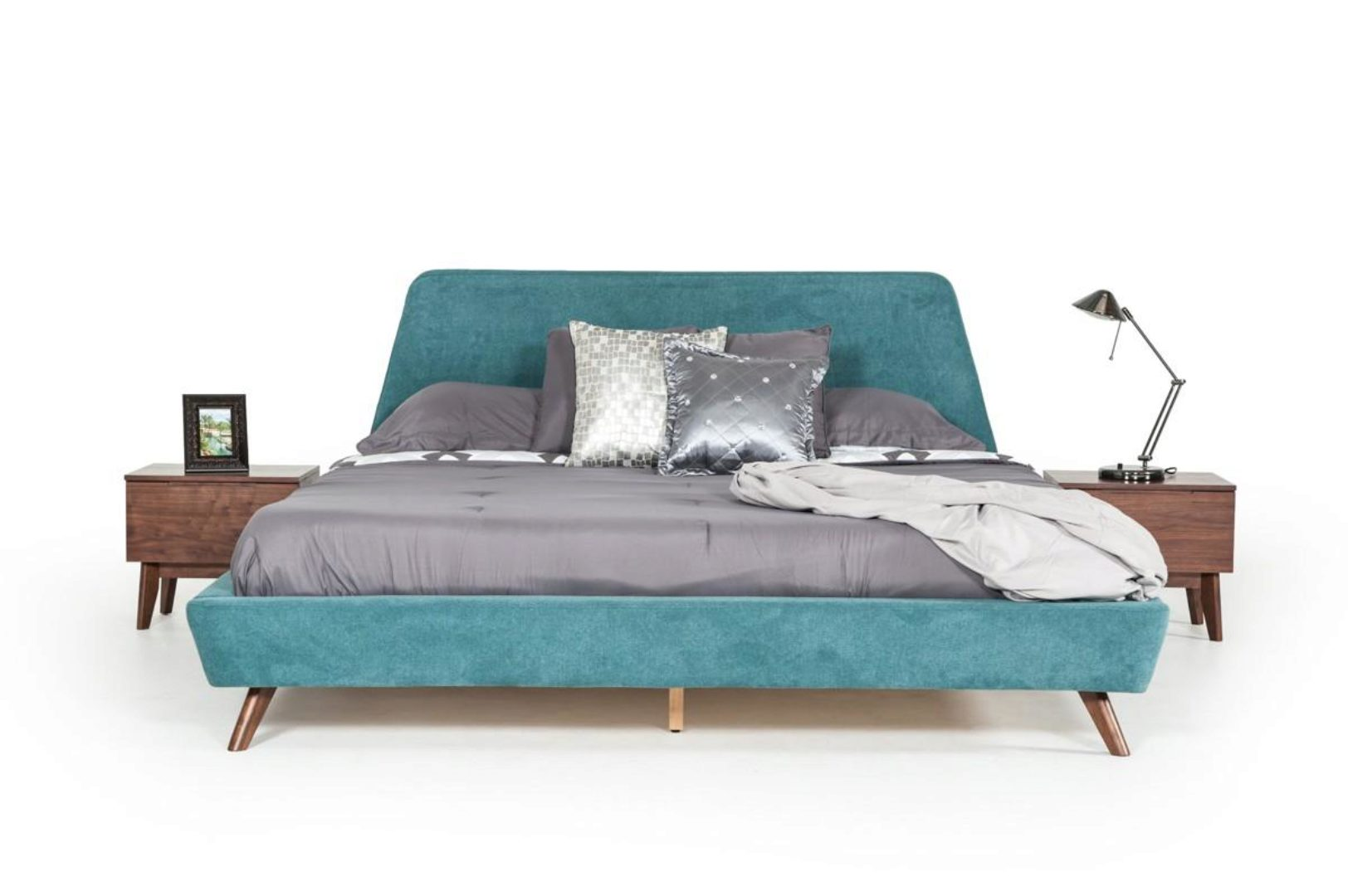 teal walnut king upholstered bed mid century modern vig modrest lewis