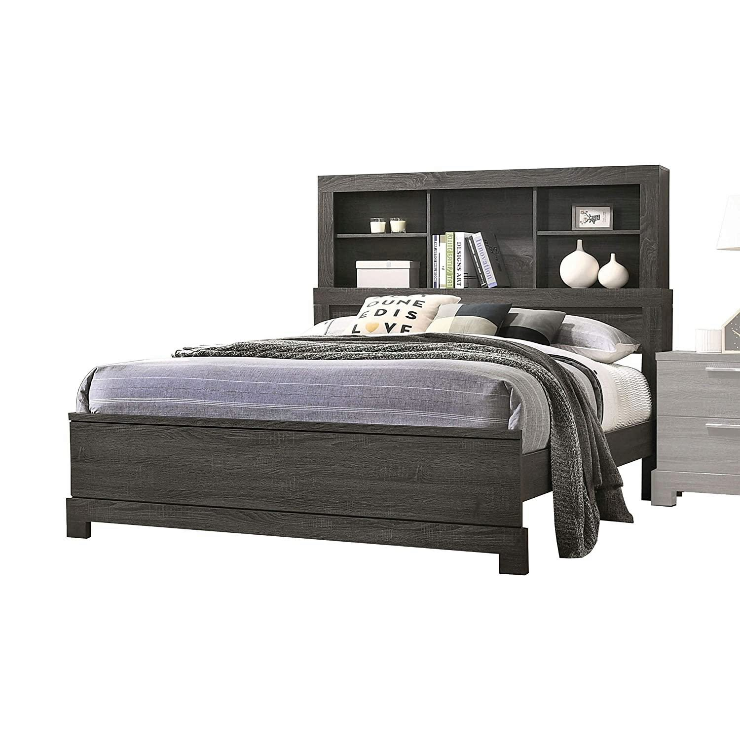 Transitional Gray Finish Bookcase Storage Headboard Queen Bed Lantha 22030q Acme 22030q
