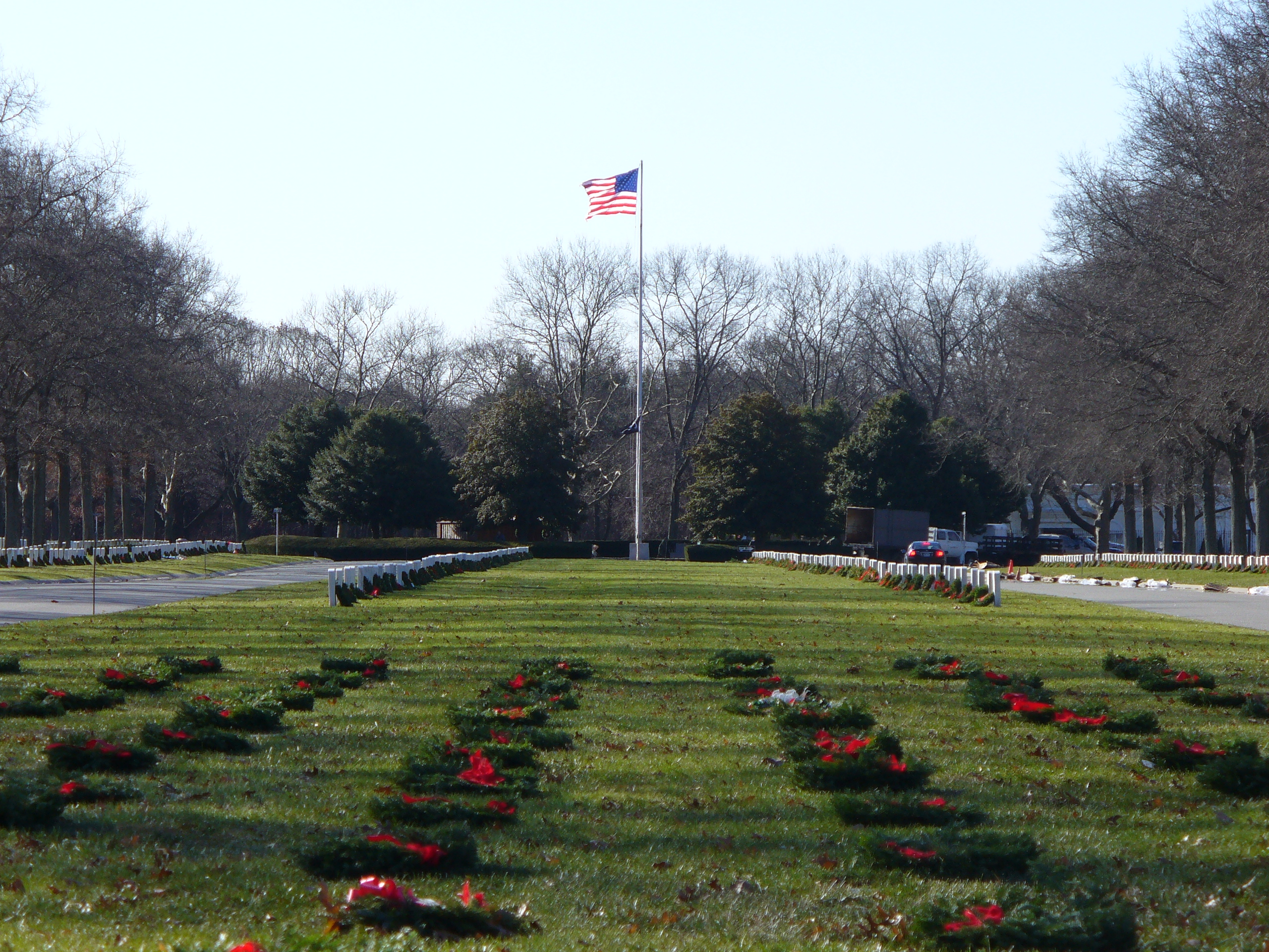 National Cemetery, Farmingdale, NY,  Wreaths laid on Veterans Graves